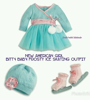 NEW American Girl Frosty Ice Skating Outfit for Bitty Baby Dolls COMPLETE Set