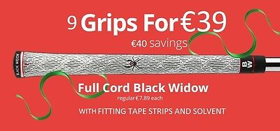 9 Golf Grips Full Cord Black Widow With Tape And Solvent