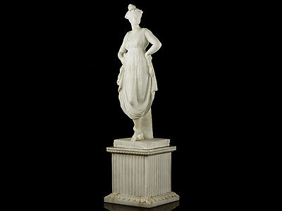 c1810 Neo Classical Carved Alabaster Statue of Terpsichore