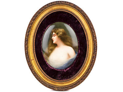 c1880 KPM Painted Berlin Porcelain Portrait Signed Wagner