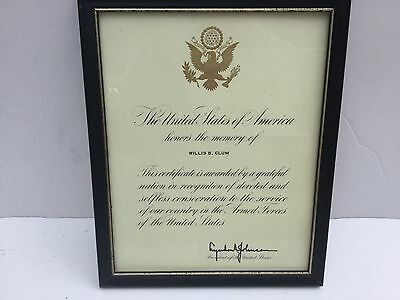 """THE UNITED STATES OF AMERICA """"HONORS THE MEMORY OF""""  SIGNED by LYNDON B. JOHNSON"""