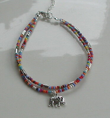 Coloured Glass Seed Beads Double Strand Elephant Charm Anklet Hippy Festival