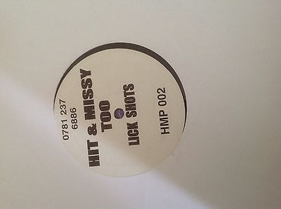 "Hit & Missy Too- Lick Shots 12"" UK Garage Vinyl HMP 2001 UKG"