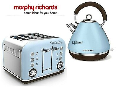 Kettle and Toaster Set Morphy Richards Accents Blue Kettle & 4 Slot Toaster New