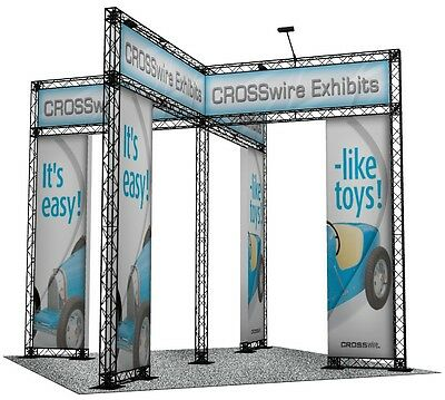 10x10 TRADE SHOW DISPLAY PORTABLE TRUSS UNIT WITH LED LIGHTS PLASTIC LIGHT