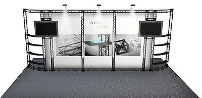 10X20 Trade Show Banner Stand Booth Display Custom Tv Stand Crosswire Exhibits