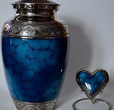 TOP QUALITY BRASS!! Urns for Ashes - Adult + Keepsake Set - Blue & Silver