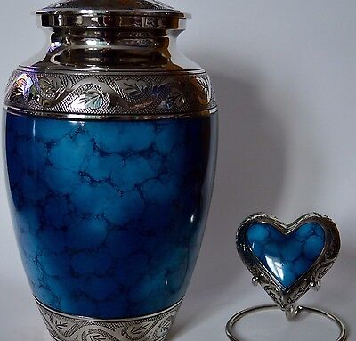 Urns for Ashes - Adult and Keepsake Set - Blue Iris with Embossed Silver