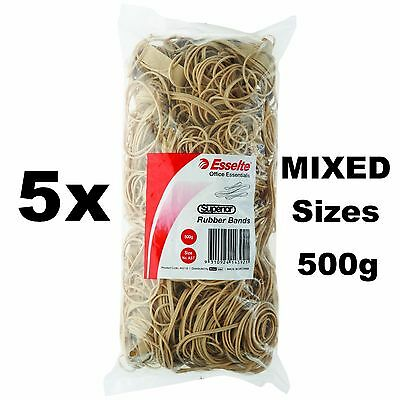 Esselte Superior Rubber bands 5x500g Size ASSORTED mixed bulk large pack 2.5Kg
