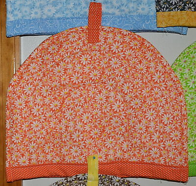 """TEA COZY-White Daisies on Orange, HANDCRAFTED in USA,QUILTED,11""""Wx13""""L"""