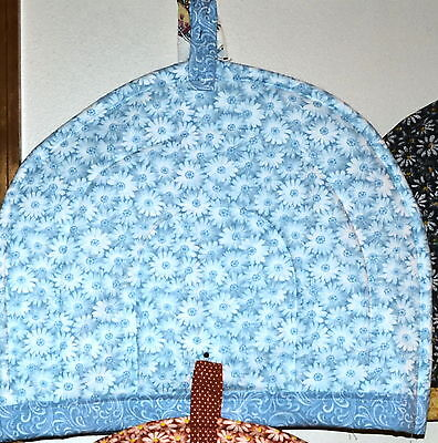 "TEA COZY-White Daisies on Soft Blue, HANDCRAFTED in USA,QUILTED,11""Wx13""L"