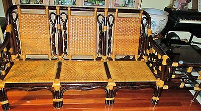Rattan Wicker Cane Wood Bamboo Sofa Chair Chaise Bench end Table Mid Century HTF