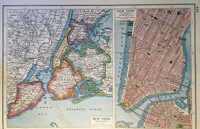 Vintage Antique Original 1920 Map Of New York USA Print Great Framed