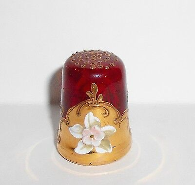 Painted Ruby Glass Thimble