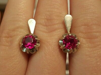 Lovely silver 875 gold plated EARRINGS USSR ruby stone