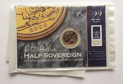 2000 Royal Mint Brilliant Uncirculated 22ct Gold Half Sovereign - Carded