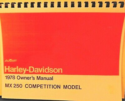 1978 AMF Harley-Davidson Owners Manual MX-250 Competition Mdl. Fully Illustrated