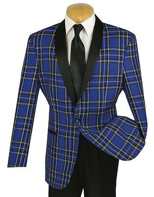 Men's Blue Plaid Print Formal Tuxedo Suit w/ Black Sateen Lapel NEW Prom Wedding