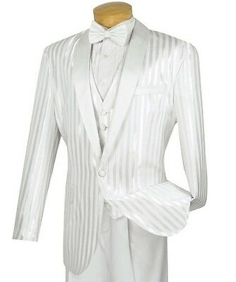 Men's White 3pc Tonal Stripe Tuxedo Suit w/ Sateen Lapel & Trim NEW Prom Wedding