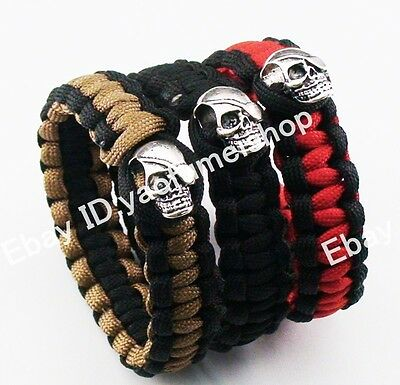 "3X 9"" 550 Paracord Military Emergency Survival Silver Tone Skull Bracelet bangle"