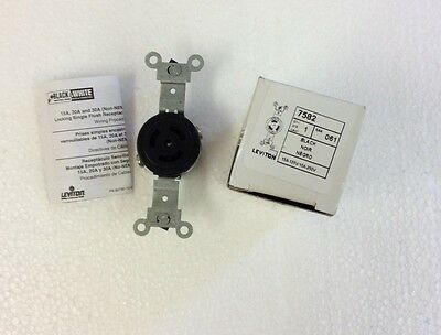 Leviton 7582 Black Single Electrical Outlet 15A-125V 10A-250V