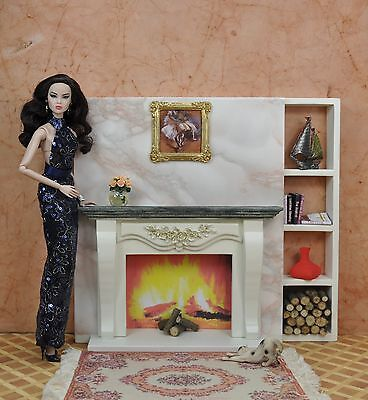 FIREPLACE for POPPY PARKER FURNITURE FASHION ROYALTY BARBIEBJD Doll 1/6