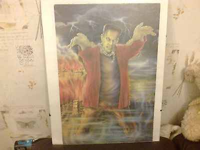 Vintage Jigsaw Puzzle In Picture Frame Board 33 X 48Cm Frankenstein Red Jacket
