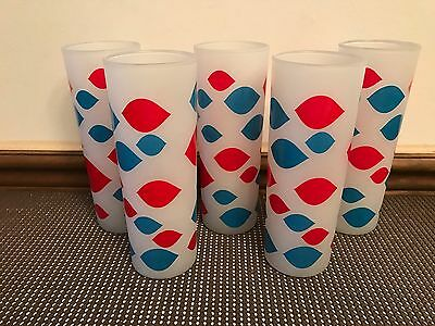 "Set of 5 ~  Dairy Queen Tom Collins Frosted Glasses ~ 6 3/4"" Tall"