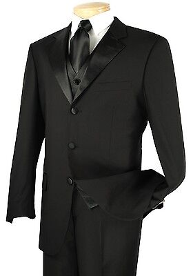 Men's Black 3pc 3 Button Tuxedo Suit w/ Sateen Lapel & Trim NEW Prom Wedding