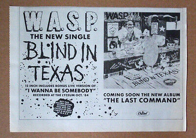 1985 - WASP - Blind in Texas - Authentic mini poster 11 x 8 single advert