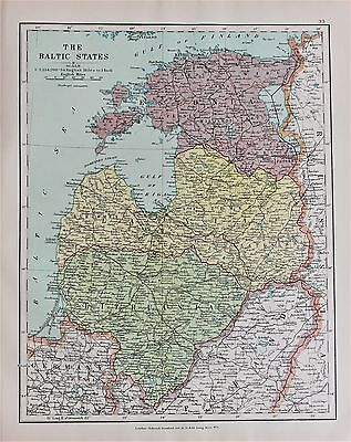 Baltic States Latvia Estonia - Antique-Vintage 1920 Colour Map by Stanford