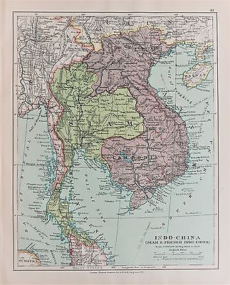 French Indo China Siam Laos - Antique-Vintage 1920 Colour Map by Stanford
