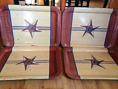 Set Of 4 Vintage Large Wood Grain With Star Metal Lap TV Trays