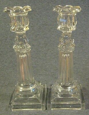 Pair c.1840 Boston & Sandwich Glass Co. Flint Petal Socket Columnar Candlesticks