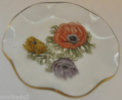 """POPPY FLOWERS Glass Fluted Plate Gold Trimmed 4.5"""""""
