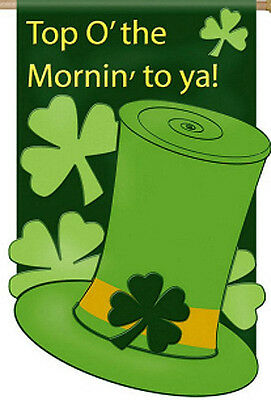 """TOP O'THE MORNIN' TO YA!"" St.Pat's Shamrock Glitter Accents Applique 28x44 Flag"