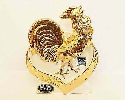 Ezra Brooks Rooster 22K Gold Ceramic Bottle
