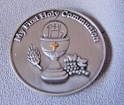My First Holy Communion Religious  Silver Tone Collectible  Pocket Coin/charm