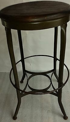 vintage 29 tall original Toledo UHL stool Industrial drafting steel & wood chair