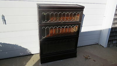 Antique Globe Weinicke Oak Stacking Bookcase with leaded doors