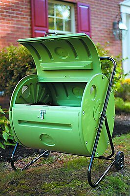 Compost Bin Tumbler 140 litres Compact Lightweight with Wheels Easy to Turn