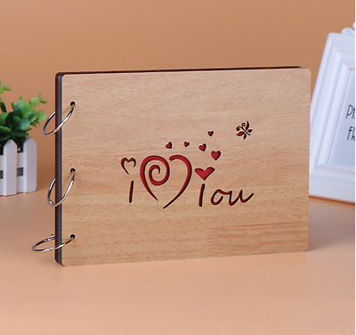 DIY 30Pages 27.3x19.8cm Beige Wood Cover 3 Rings Photo Album Scrapbook I LOVE U