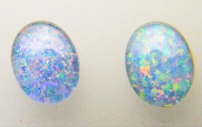 Natural Australian Opal Triplet 8mm x 6mm Oval Loose Stones Blue/Green/Red (2)