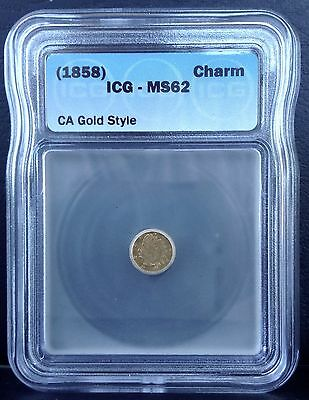 1858 California GOLD Charm coin ICG MS62 Brilliant Uncirculated