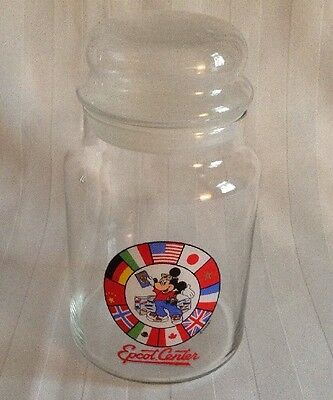Disney Epcot Center Glass Cookie Jar 7 Inches Tall