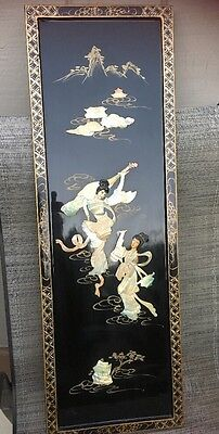 Vint Oriental Asian Laquour & Mother Of Pearl Hand Made Painted Picture *