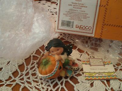 Enesco Friends of the Feather Smile Carver # 145041 Girl with Pumpkin New in Box
