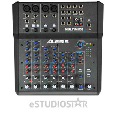 Alesis MultiMix 8 USB FX 8-Channel Mixer with Effects and USB Interface NEW