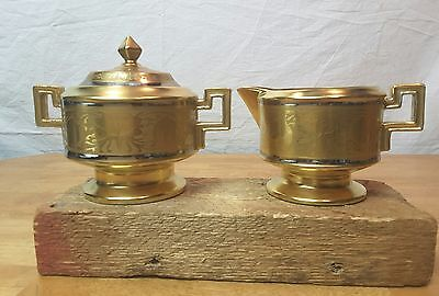 Vintage Hand-Painted STOUFFER China Gilded Gold Silver Cream & Sugar Set