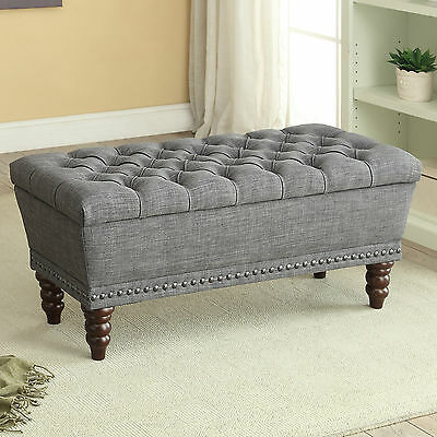 """Hampton"" Collection Double Storage Ottoman Bench in Grey Fabric 401-317D-GY"